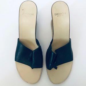Emozioni Black Leather Italian Sandal Wedges